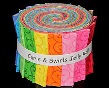 "Curls & Swirls Rainbow Jelly Roll ~ 16 Cotton Fabric Strips ~ 2.5"" Wide X 44"""