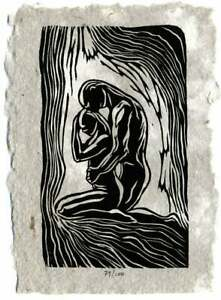Always With You Original Woodcut Print on Handmade Paper Classic Yoga