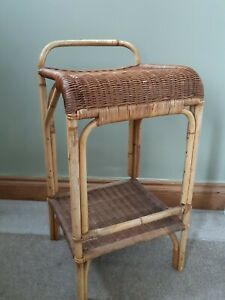 Vintage rattan cane boho bar stool seat breakfast bar tiki retro vtg interior