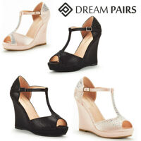 DREAM PAIRS Womens Wedge Heel Sandals Peep Toe Ankle Strap Platform Pump Sandals