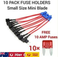 10 Pack Add a Circuit Small Size Mini Blade Fuse Holders 10 Free 10AMP Fuses