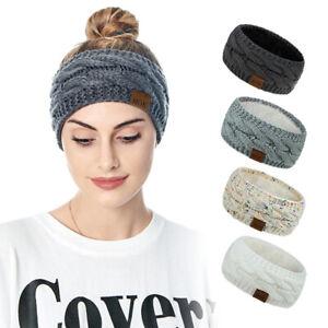 Bandeau en laine à tricoter large hiver chaud oreille bande de cheveux couv mj69