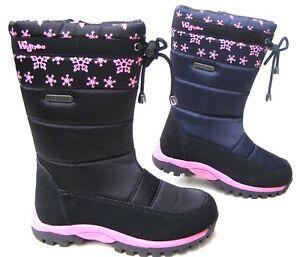 NEW GIRLS WATERPROOF THERMAL WARM BOOTS ZIP WINTER SNOW SKI BLACK SCHOOL SHOES