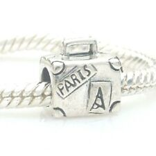 London To Paris Suitcase Charm Bead 925 Sterling Silver