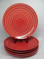 """Spiral Swirl hand painted dinner plates 10 3/4"""" Bundle of 5"""