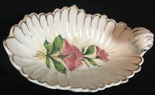 Vintage BHS Hand Painted Flower Footed Oval Candy Nut Dish W/Handle Made Italy