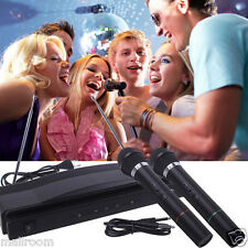 2PC Profi Wireless Funk Mikrofon Dynamisches System Mic Funkmikrofon +Empfänger