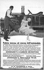PUBBLICITA'1918 JOHNSON'S & SON PRODOTTI AUTO CERA LAVAGGIO CILINDRI CARROZZERIA