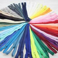"4"" 5"" 6"" 7"" 8"" 10"" CLOSED END No.3 NYLON ZIPS *6 SIZES 40 COLOURS* ZIPPER SEWING"