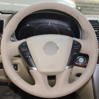 DIY Steering Wheel Cover Beige Leather Hand Sewing For Nissan Teana Murano 09-14