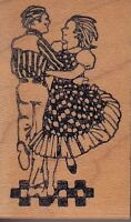 "square dancers l.a. stampworks Wood Mounted Rubber Stamp 1 x 2""  Free Shipping"