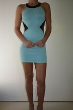 Lioness Fashion Cut Out Bodycone Stretch Sexy Mini Women Dress Light Blue Sz 8