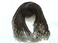 10/100pcs Brown PU Leather Cord Necklace With Lobster Clasp Charms Jewelry Cords