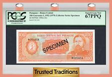 "TT PK 199b-CS1 1979 PARAGUAY 100 GUARANIES ""SPECIMEN"" PCGS 67 PPQ TOP POPULATION"
