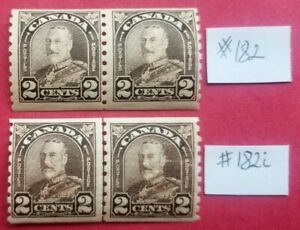 """Canada #182 pair and #182i line pair MNH F/VF OG KGV """"Arch/Leaf Issue"""" CV$180"""