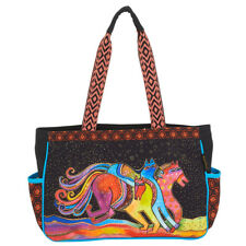 Laurel Burch Horse Caballos De Colores Medium Tote Handbag Purse Black
