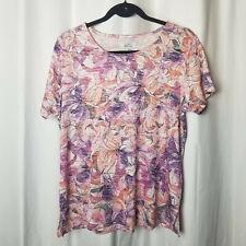 NEW Medium CROFT & BARROW Purple & Pink Floral Casual Knit Short Sleeve Top