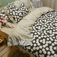 Black White Dots Duvet Cover Set Lace Quilts Cover  Twin Korean Bedding Sets