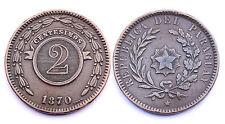 2 Centesimos 1870. Paraguay. Cuivre/ Copper. Belle qualité!