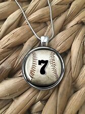 CUSTOM Baseball Team Number Mom Player Glass Pendant Silver Chain Necklace NEW