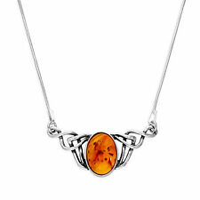 Real 925 Woven Sterling Silver & Baltic Amber 16 Inch Necklace