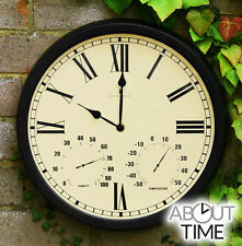 Outdoor Wall Clock Thermometer Traditional Radio Controlled Metal Humidity