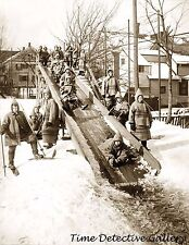 Boys Riding Toboggans Down Wooden Slide, Rochester NY c1910 Historic Photo Print