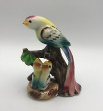 Vintage Japan Porcelain Parrot Bird Figurine With 2 Baby Chicks Hand Painted