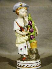 "Continental Porcelain Figurine of Girl Harvesting Grapes 6 1/4""h"