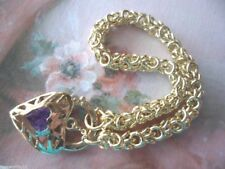 Vintage Jewellery Gold Byzantine Chain Bracelet Heart Padlock Antique Jewelry