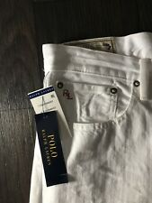 NWT Polo Ralph Lauren Mens Hampton Jeans Hudson White Straight Fit  36 x 32