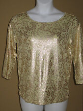 "Chico's Sz 2 New Vintage Lace Maggie Top Blouse NWT Gold & Yellow - Bust 42"" - L"