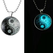 GLOW IN THE DARK YIN YANG NECKLACE Jewellery Gift Idea Peace Sign Symbol Hippie