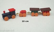 train en bois,locomotive et 3 wagons,miniature maison de poupée,vitrine  **CL11