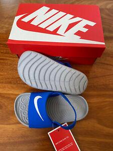New Nike Kids Kawa Slide Infant/Toddler Sandals Blue Hyper Cobalt/Grey 5c - 10c