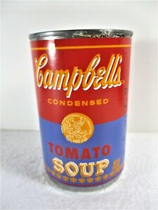 """CAMPBELL'S ANDY WARHOL RED & VIOLET TOMATO SOUP CAN """"...WORLD FAMOUS FOR 15 MIN"""""""