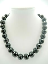"Black Onyx Necklace Faceted Beads Sterling Clasp 16.5 - 18.5"" N766"