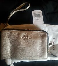 Ladies Coach Leather Wristlet Bag in Gold colouring *Brand new*