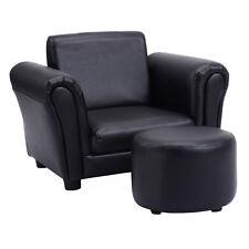 Black Kids Sofa Armrest Chair Couch Children Toddler Birthday Gift w/ Ottoman