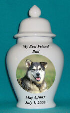 "10"" Photo Picture Pet Dog Cat Cremation Memorial Urn Personalized"