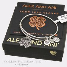 Authentic Alex and Ani Four Leaf Clover (iv) Rafaelian Silver Charm Bangle