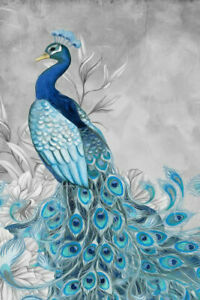 Wall Art Home Decor Print Painting Abstract Feng Shui Peacock Picture on Canvas