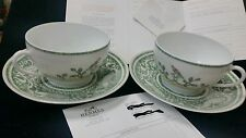 Hermes Early America Tea Cup And Saucer China  / Pair