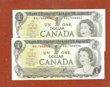2 1973 Coonsecutive Serial Number One Dollar Bank Notes Gem Uncirculated G159