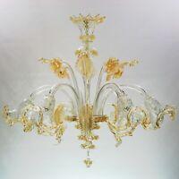 Lampara Vidrio de Murano Transparente E Ámbar 6xE14 Original Con Certificado