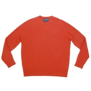 Davis & Squire Southwestern Red Cable Knit 100% Cashmere Men's Sweater Large 452