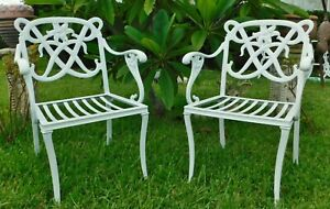 Rare PAIR Mid Century Modern JORDAN BROWN LILY White Aluminum Patio Arm Chairs