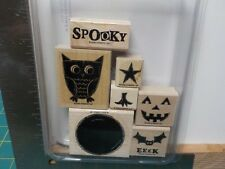 STAMPIN UP WHAT A HOOT OWL HALLOWEEN RUBBER STAMPS SET OF 7 WOOD EUC A14544
