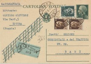 1944 LUOGOTENENZA INTERO POSTALE VINCEREMO SOVRASTAMPATO RACCOMANDATO DA LUCERA