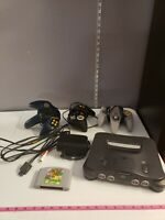 Vintage Nintendo 64 Lot Console With 3 Controllers & 3 Games Mario, Madden, Kobe